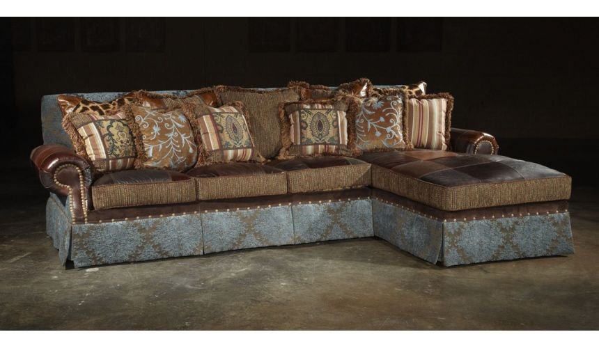 Luxury Leather & Upholstered Furniture Sofa with chaise sectional