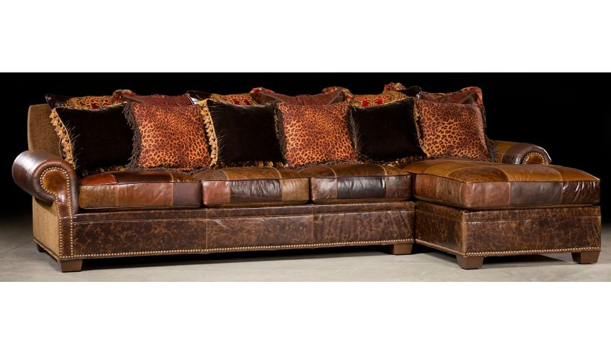 Luxury Leather & Upholstered Furniture Sofa with chaise lounge. Luxury furniture. 449