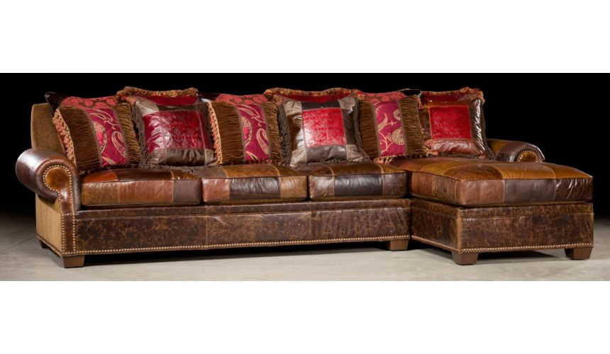 Luxury Leather & Upholstered Furniture Sofa with lounge. High quality furniture. 33