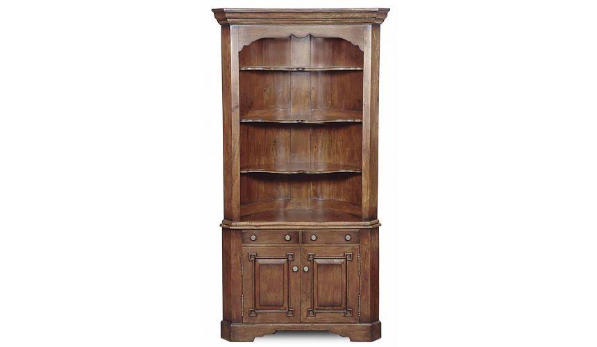 Breakfronts & China Cabinets Solid Walnut Corner Cabinet