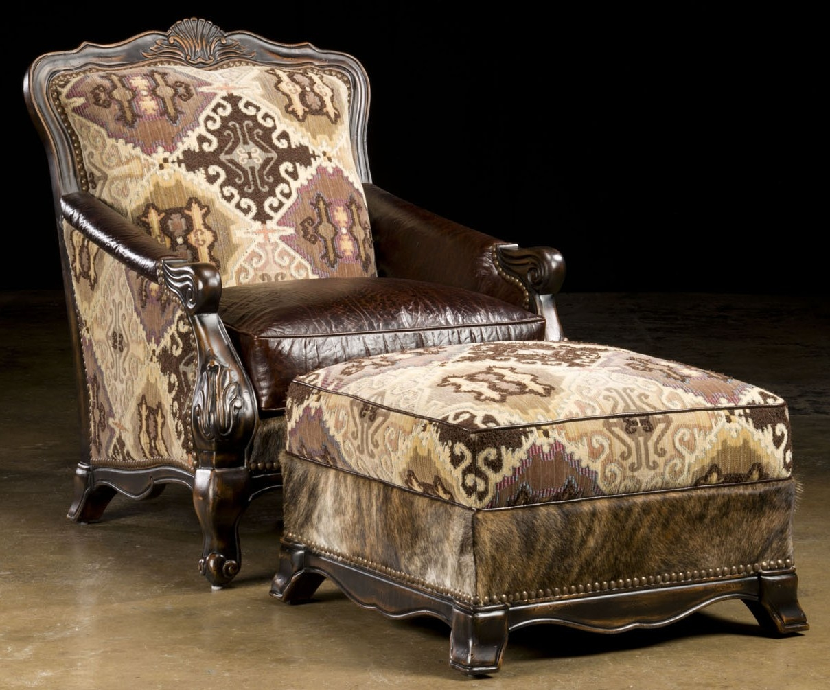 South Western Style Luxury Furniture Chair And Ottoman Hair Hide And Embossed Leather