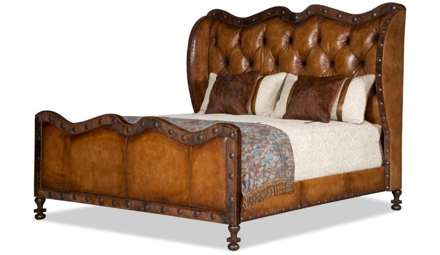 BEDS - Queen, King & California King Sizes Sundance tufted leather western master bed