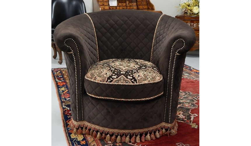 Luxury Leather & Upholstered Furniture Swivel chair luxury fine home furnishings