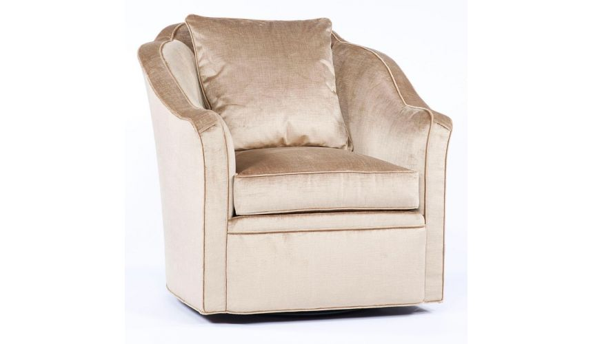 Luxury Leather & Upholstered Furniture Swivel living room chair. Sleek and modern. 86