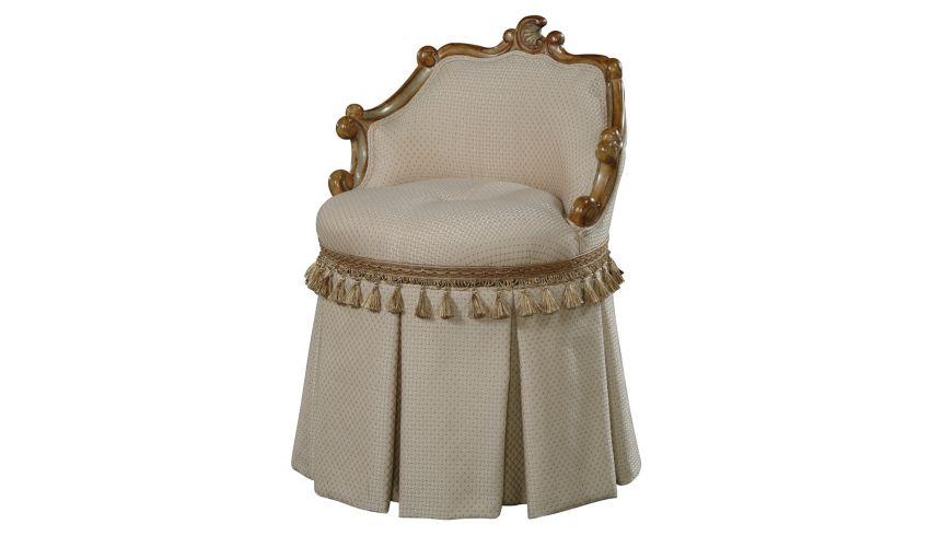 Luxury Leather & Upholstered Furniture Swivel Vanity Stool high end furniture
