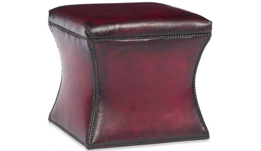 Luxury Leather & Upholstered Furniture Scarlet Cube Ottoman