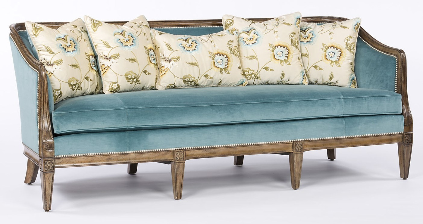 Sofa Couch Loveseat Teal Fabric Wood Frame
