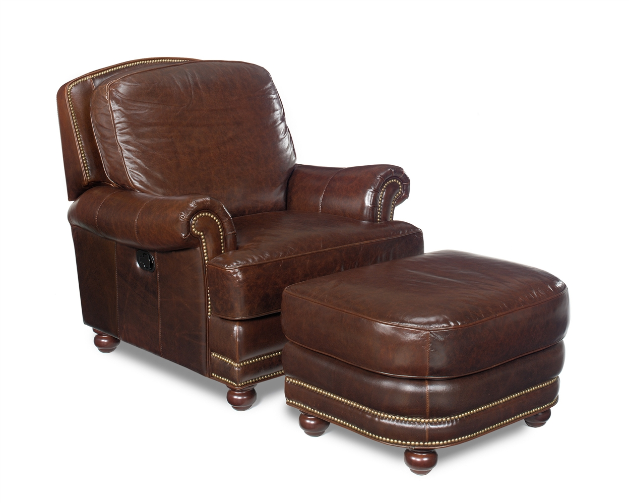 Luxury Leather Chairs leather furniture, tilt-back chair and ottoman set