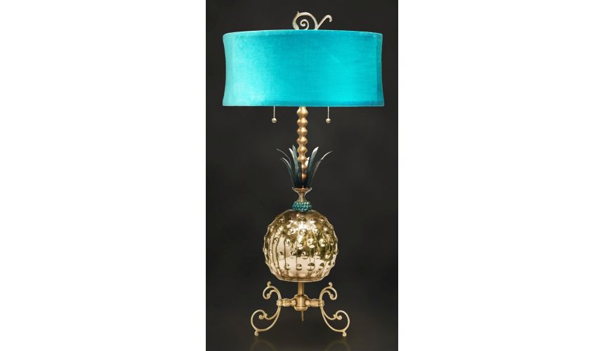 Table Lamps Modern Classic Lamp with Aqua Shade and Golden Body