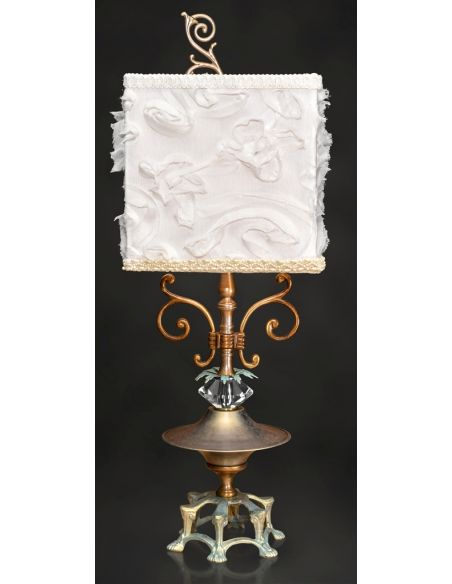 Table Lamps Noble Lamp with White Embroidered Shade