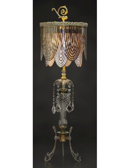 Antiqued Table Lamp with Meta Shade