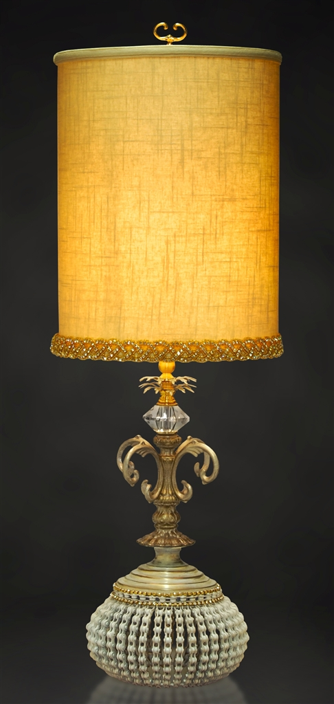 Linen Shade Medieval Style Table Lamp