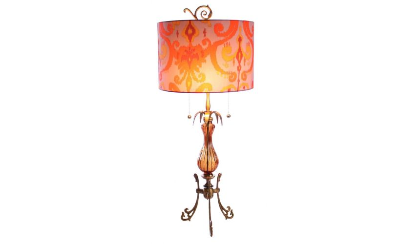 Table Lamps Hand Painted Arabesque Table Lamp with Umber Finish
