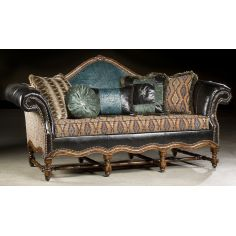 High style furniture tooled leather sofa. Luxury fine home furnishings and high quality furniture for any home decor