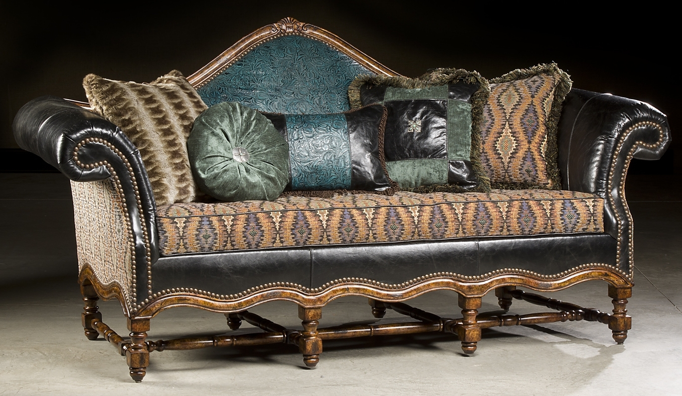 High style furniture tooled leather sofa luxury fine home for Home furnishings and decor