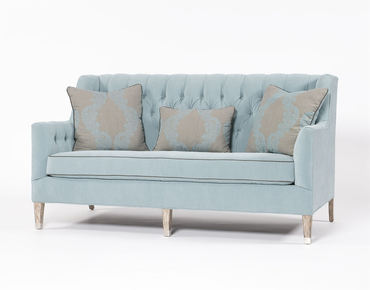 Traditional sofa tufted blue three person couch for 3 on a couch