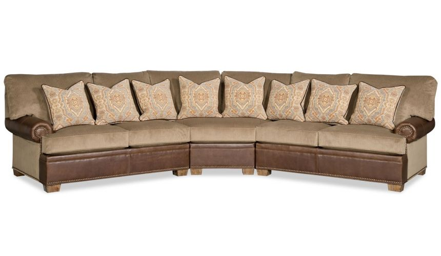 Luxury Leather & Upholstered Furniture Sleek and transitional style round corner sectional sofa 9901