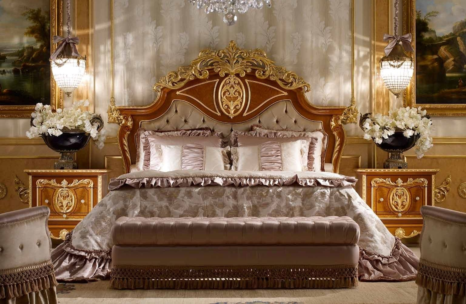 Classic tufted and crowned headboard. From furniture masterpiece\'s