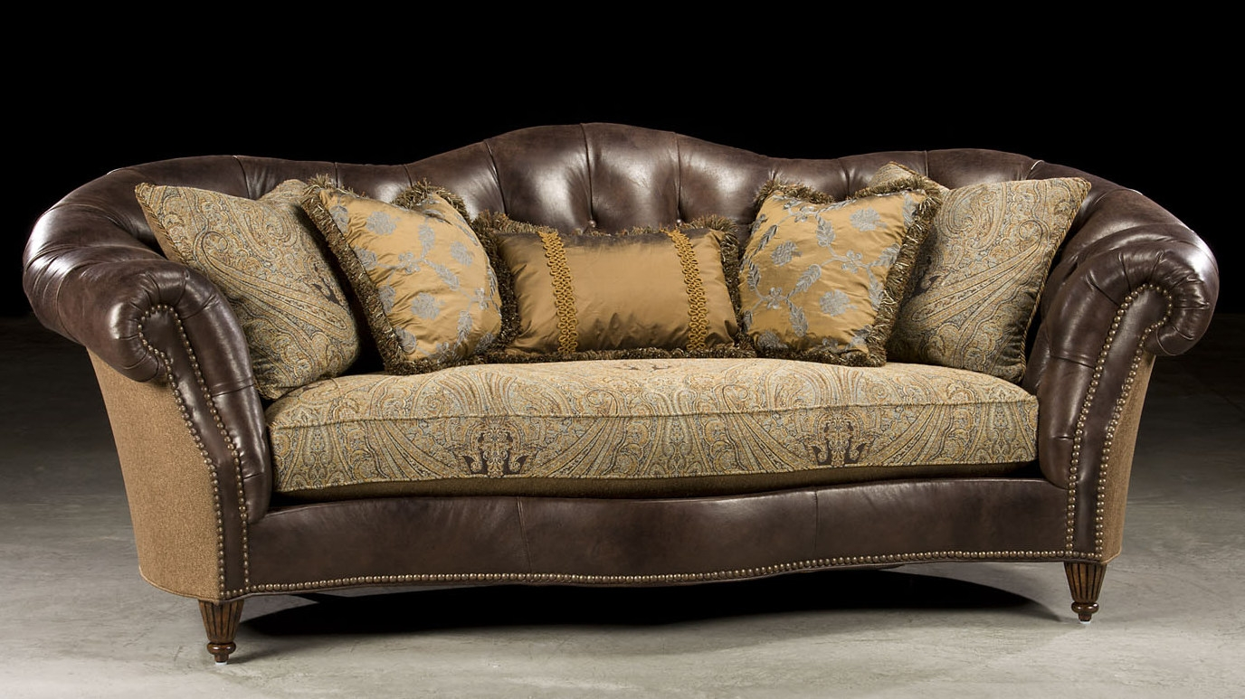 Sleek Tufted Leather Fabric Sofa