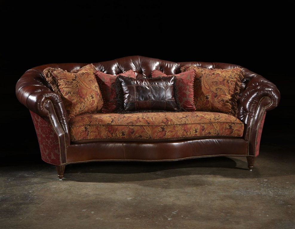Tufted Leather Formal Sofa Library