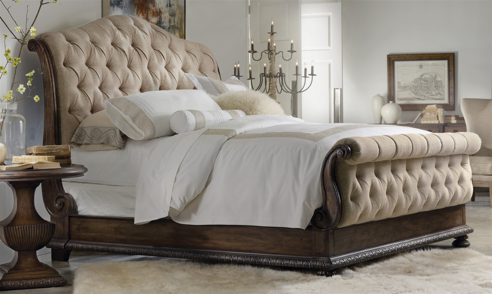 Tufted sleigh bed luxury furniture for Luxury furniture