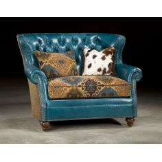 Tufted Turquoise Leather Chair and a half