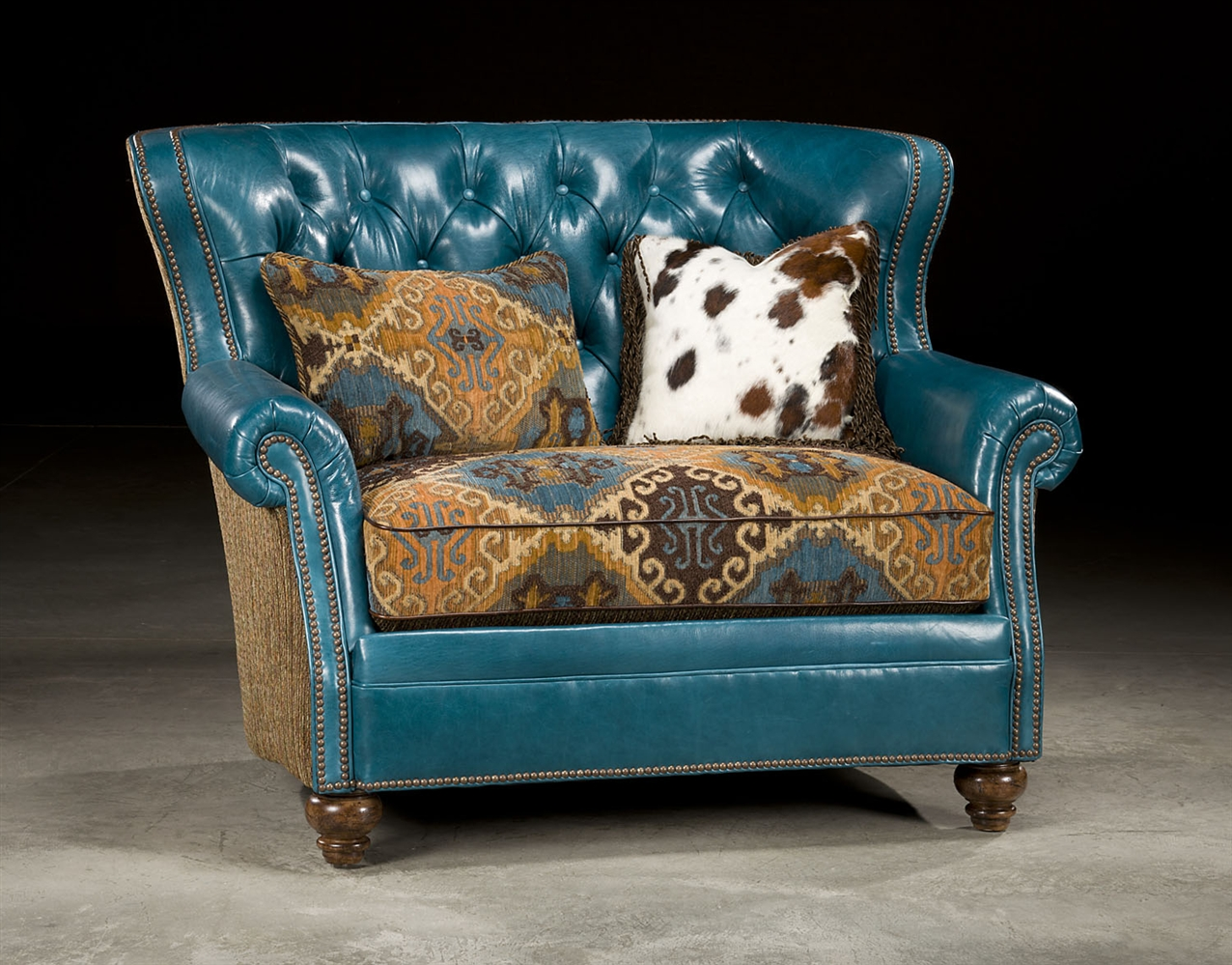 Charmant CHAIRS   Leather, Upholstered, Accent Tufted Turquoise Leather Chair And A  Half