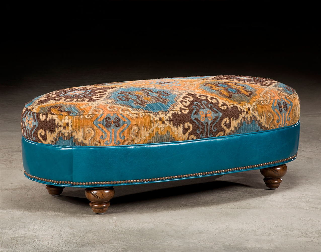CHAIRS   Leather, Upholstered, Accent Tufted Turquoise Leather Chair And A  Half
