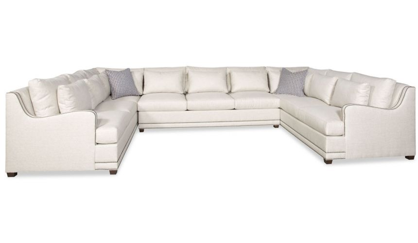 Luxury Leather & Upholstered Furniture Simple style large U shaped sectional sofa 9888