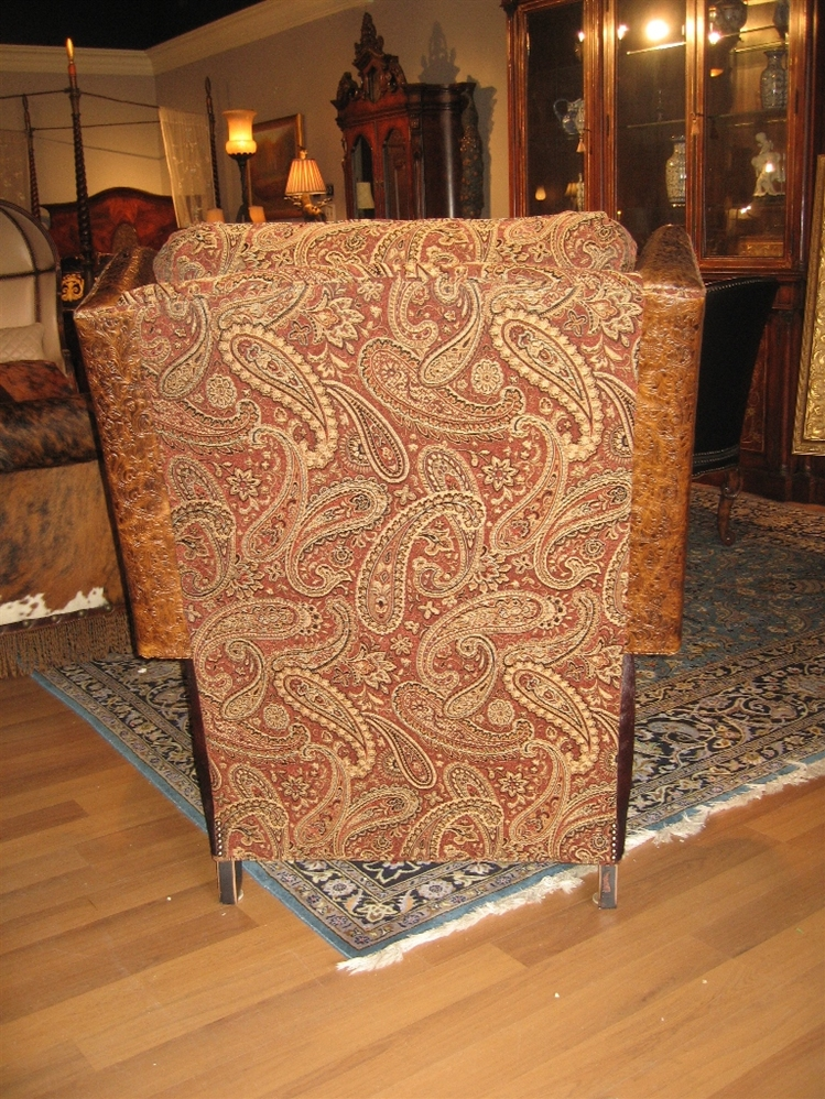 Unique Furniture, Recliner With Tooled Leather Burgundy