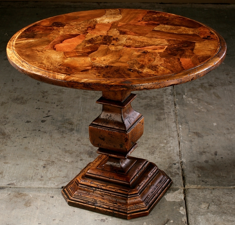 Unique high end round dining table old world craftsmanship for Unique round kitchen tables