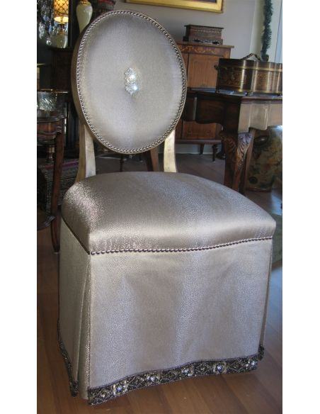 Luxury Leather & Upholstered Furniture High style vanity chair. Pearl shell outback.