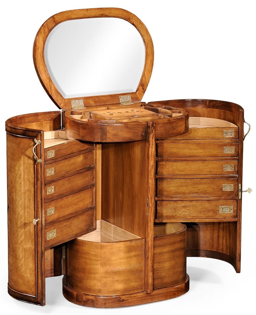 Luxury locking jewelry armoire with mirror vanity for Armoire dressing but