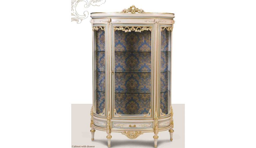 Breakfronts & China Cabinets Venetian style display . Best of European made furniture.