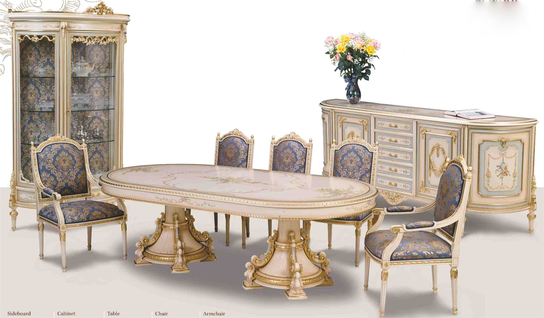 Venetian Hand painted high style dining set.