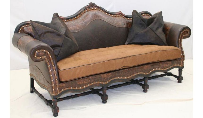 SOFA, COUCH & LOVESEAT W-518-03 Carved Sofa