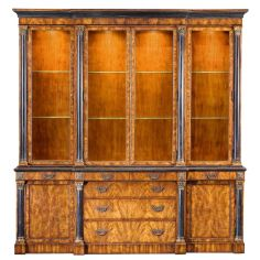 Antique-Reproduction-Furniture Breakfront Cabinet Solid Walnut