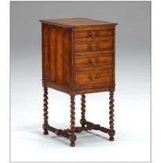 Chest on Stand in Walnut. Hand carved twist turned legs. Without silver lining