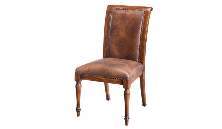 Dining Chairs Leather and walnut, dining chair