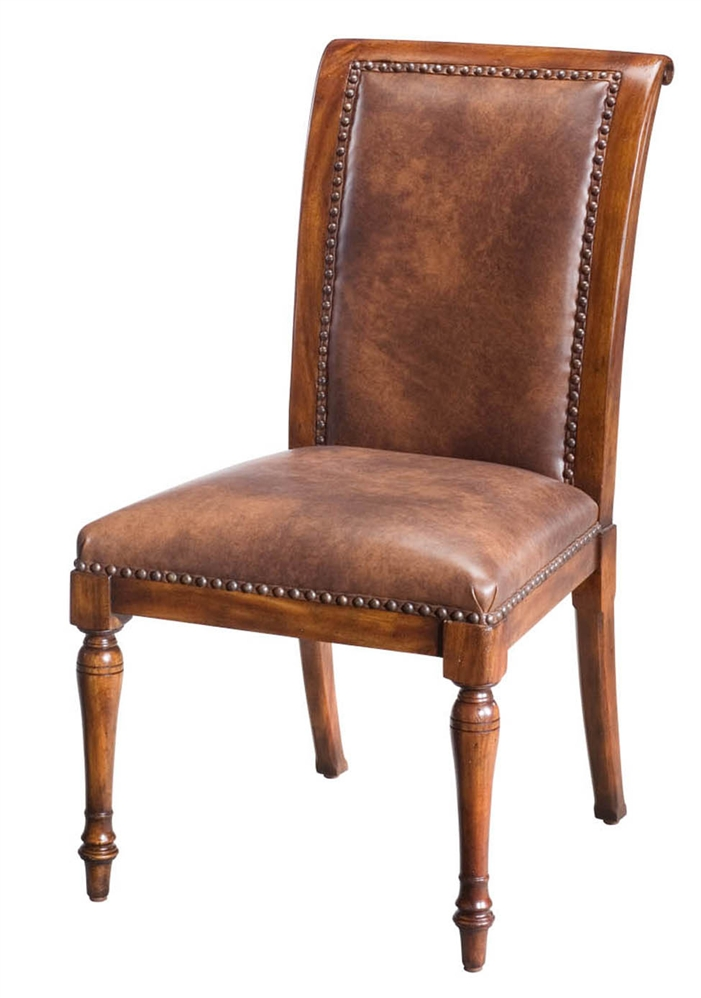 Leather and walnut dining chair for Leather dining room chairs