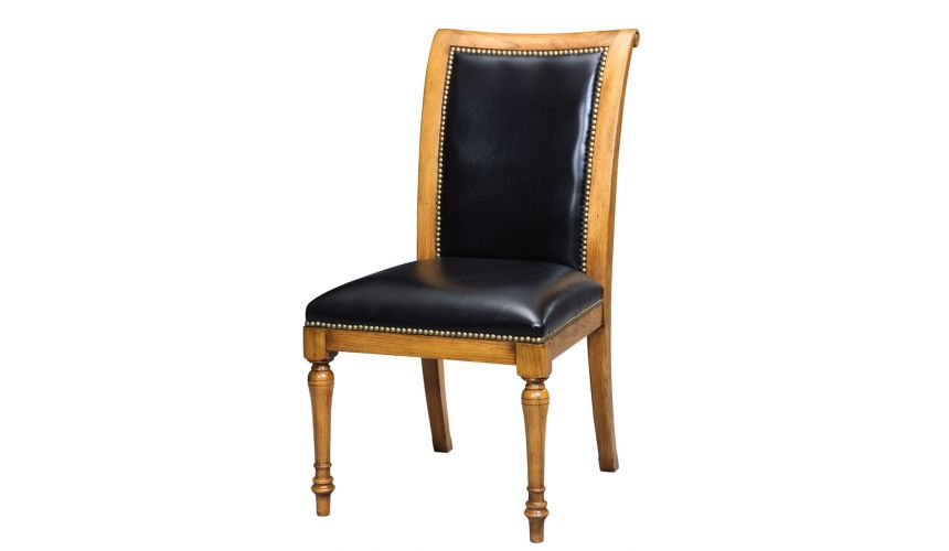 Dining Chairs Leather and oak, dining chair goes with Jupe table. English antique reproduction furniture