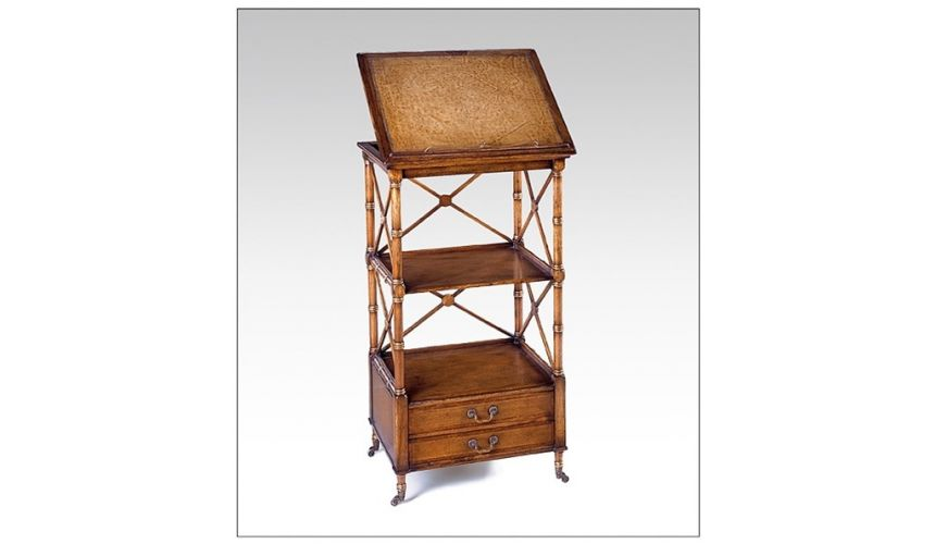 Decorative Accessories Walnut Music stand or library reading stand with two small drawers and X rails