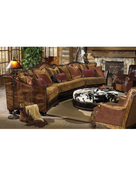 01 western furniture. Custom sectional sofa, chairs, hair hide ottoman