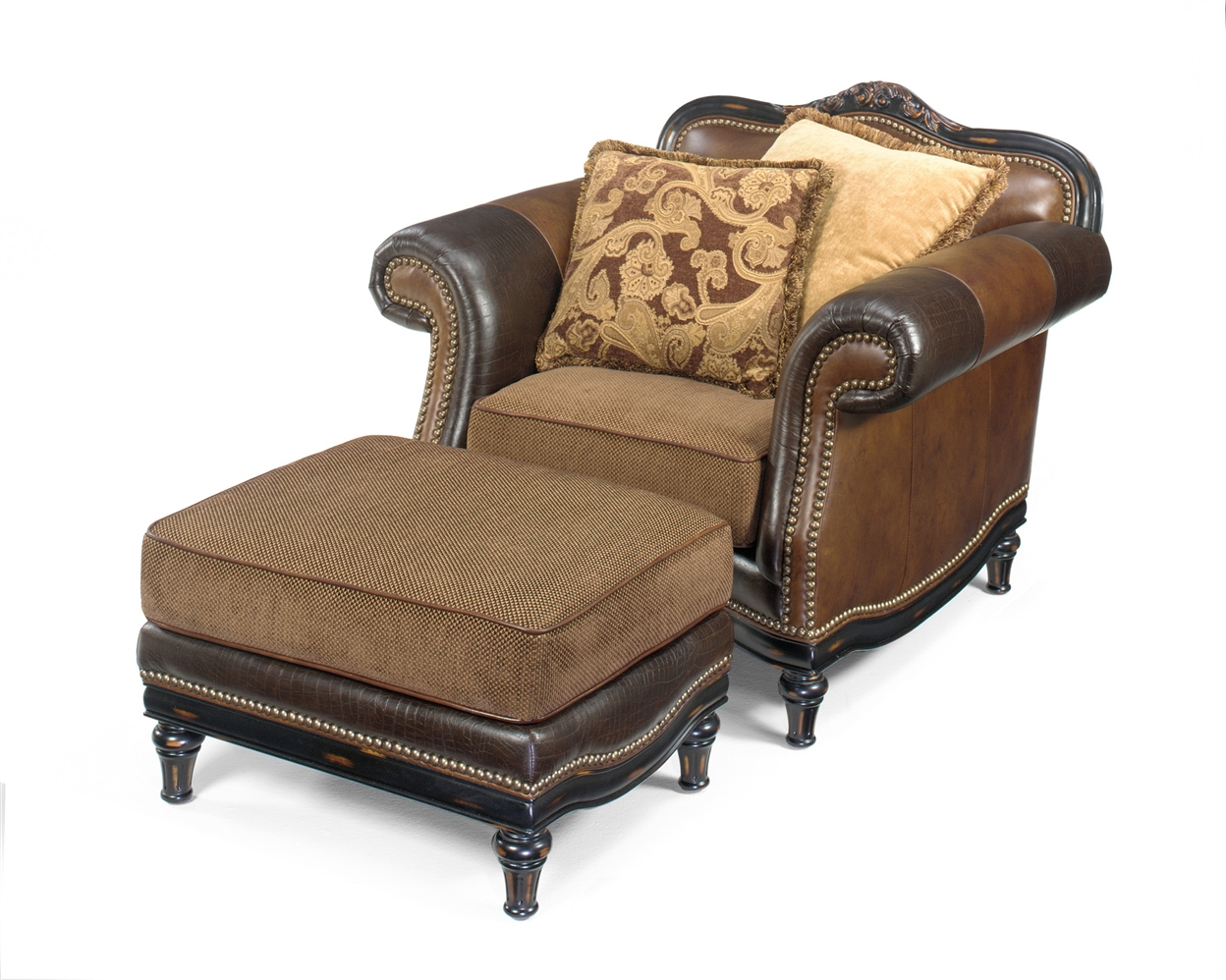Western Style Furniture Upholstered Quality Chair And Ottoman