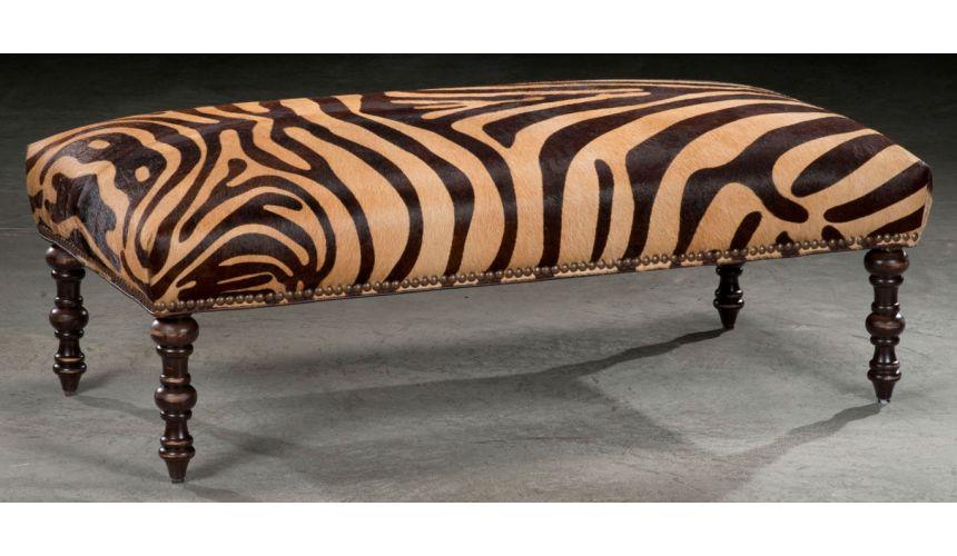 Luxury Leather & Upholstered Furniture Wild Zebra hair on hide ottoman. 18