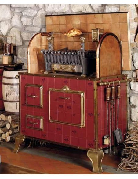 Kitchen Cabinetry WOOD AND CHARCOAL FIRED INDOOR OUTDOOR GRILL RED