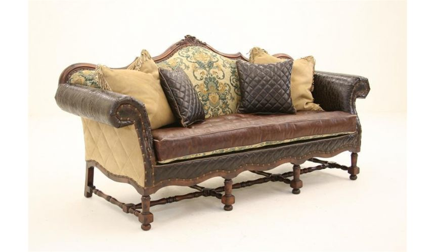 Luxury Leather & Upholstered Furniture English Style Sofa-sofa, chair, leather, fabric