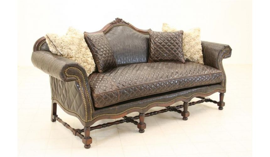Luxury Leather & Upholstered Furniture Wild West Tooled Leather Sofa Luxury Furniture