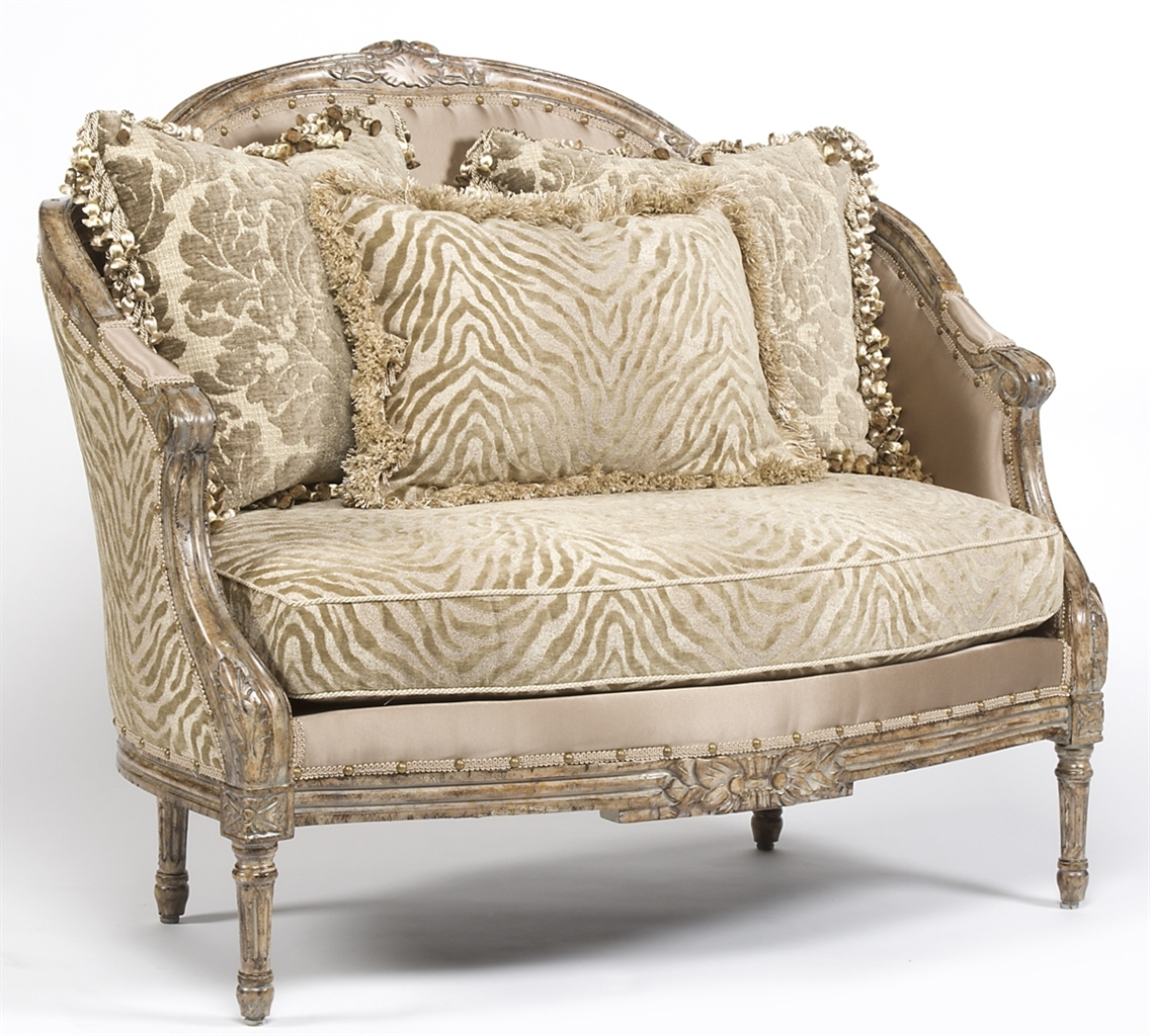 CHAIRS, Leather, Upholstered, Accent Zebra Chic Settee, Luxury Fine Home  Furnishings