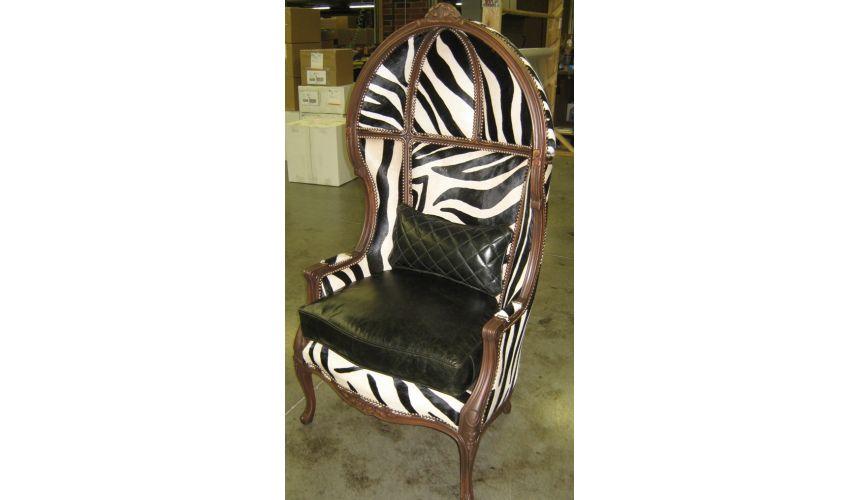 Luxury Leather & Upholstered Furniture Zebra Hair Hide Secrets Chair, Luxury Furniture
